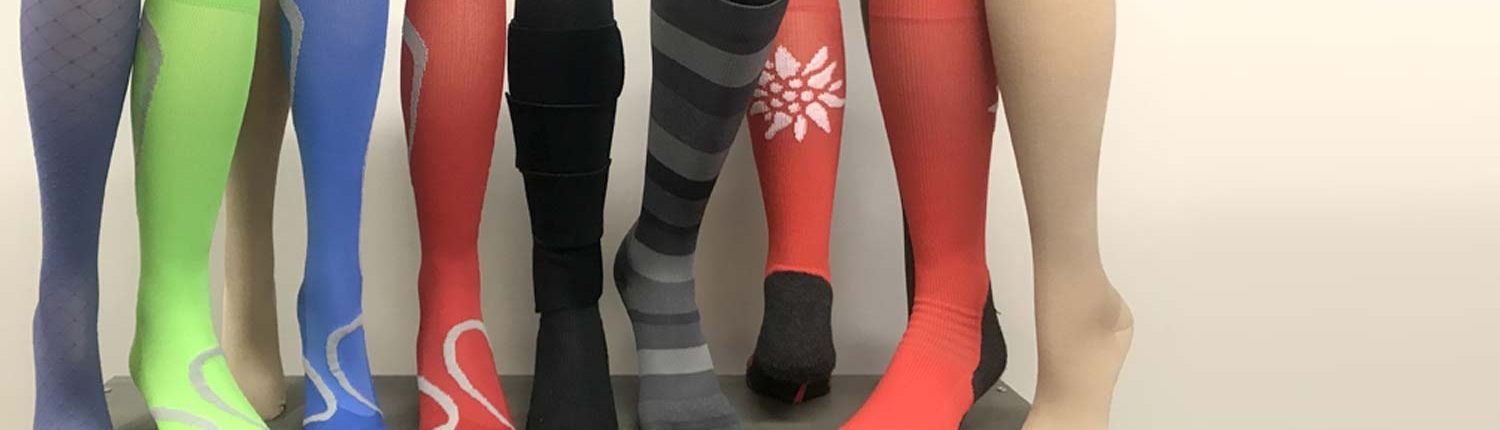 Compression socks on display in the clinic.